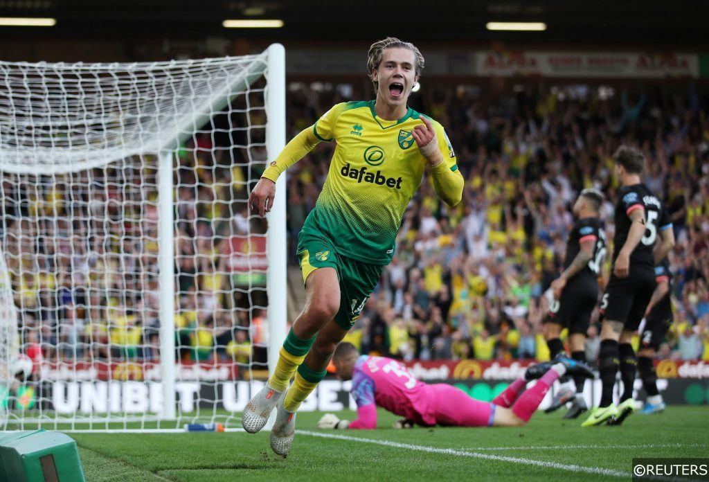 Norwich City's Todd Cantwell celebrates after scoring against Man City