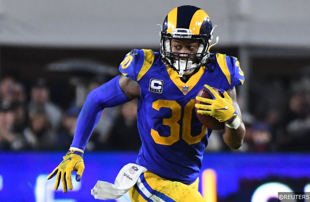 Todd Gurley playing running back for the LA Rams