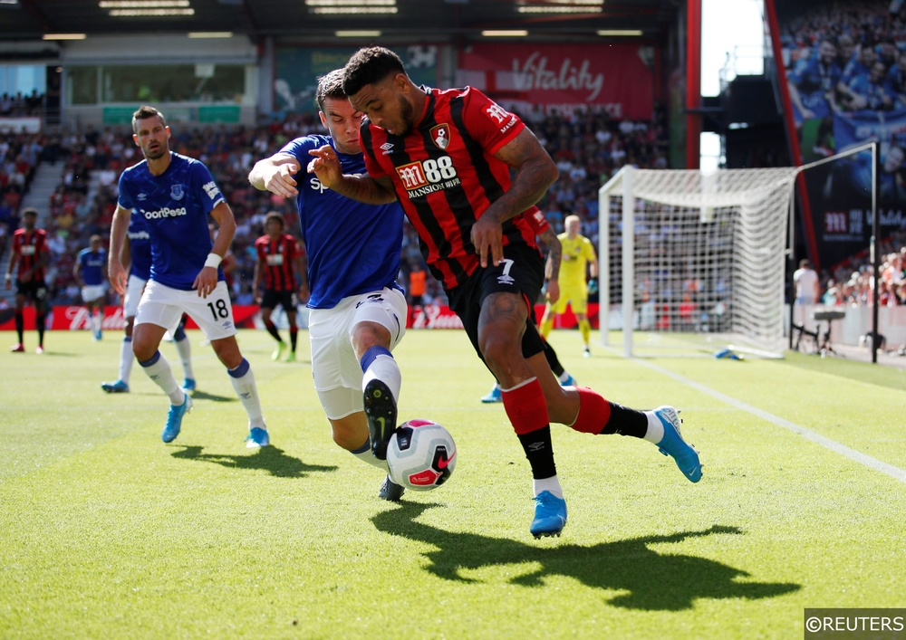 Bournemouth's Joshua King in action with Everton's Seamus Coleman