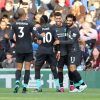 Mane, Salah and Firmino celebrate scoring for Liverpool