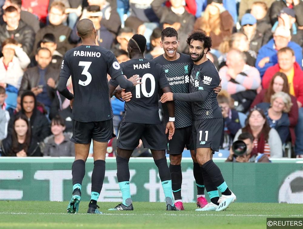 Mane, Salah and Firmino celebrate scoring for Liverpool