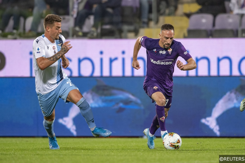 "Franck Ribery and Sergej Milinkovic-Savic during the Italian ""Serie A"" match between Fiorentina and Lazio"
