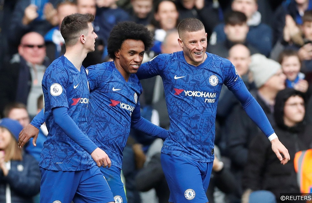 Chelsea's Willian, Ross Barkley and Mason Mount