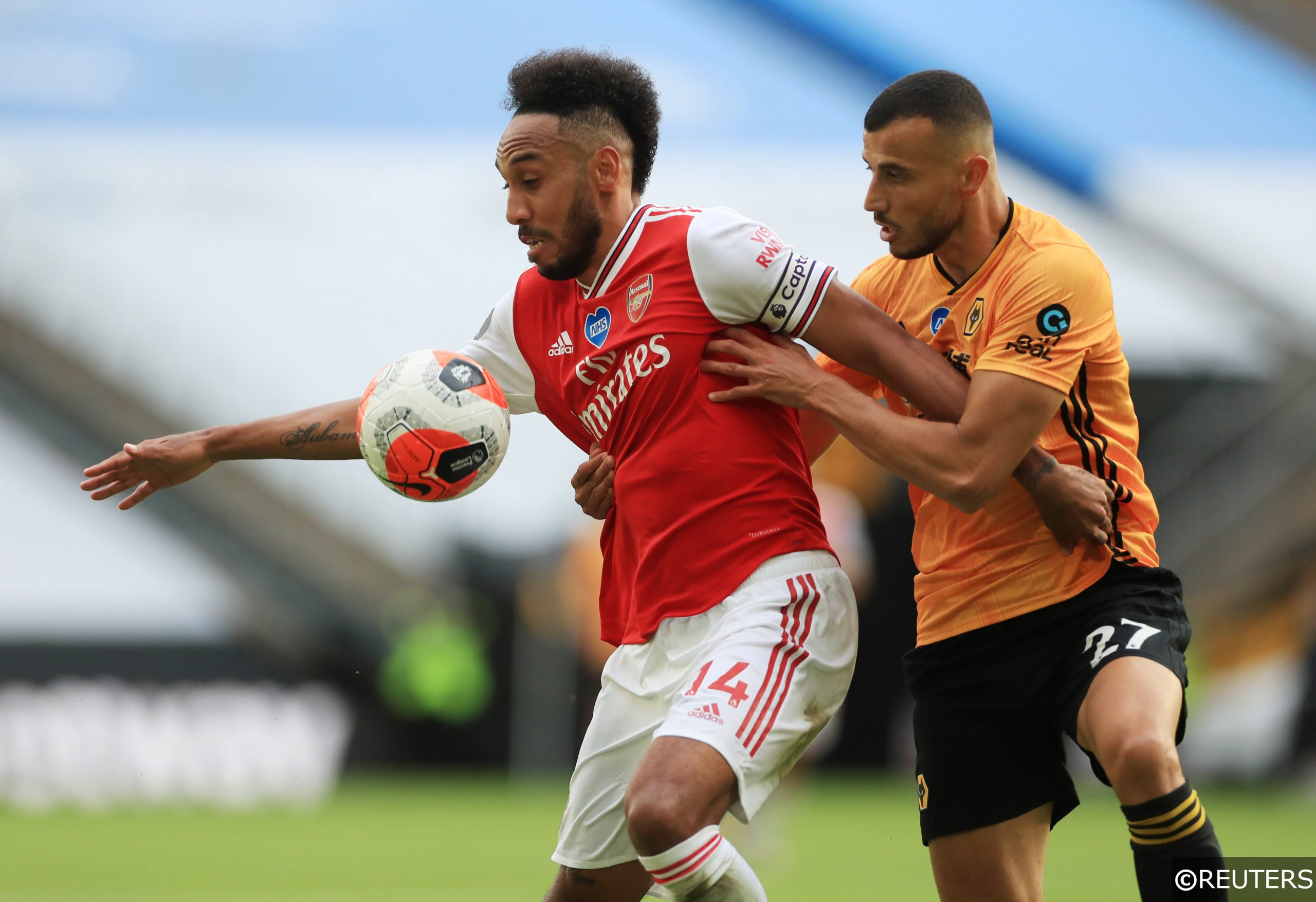 Arsenal Aubameyang and Wolves Saiss
