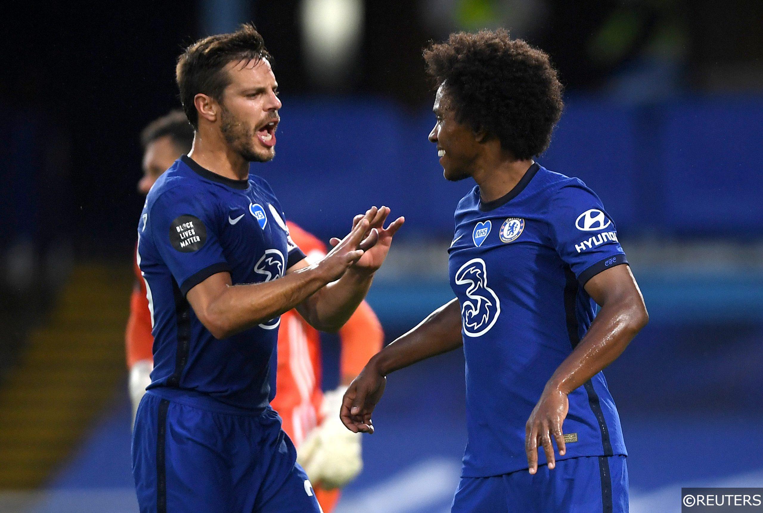 Chelsea defender Azpilicueta and forward Willian