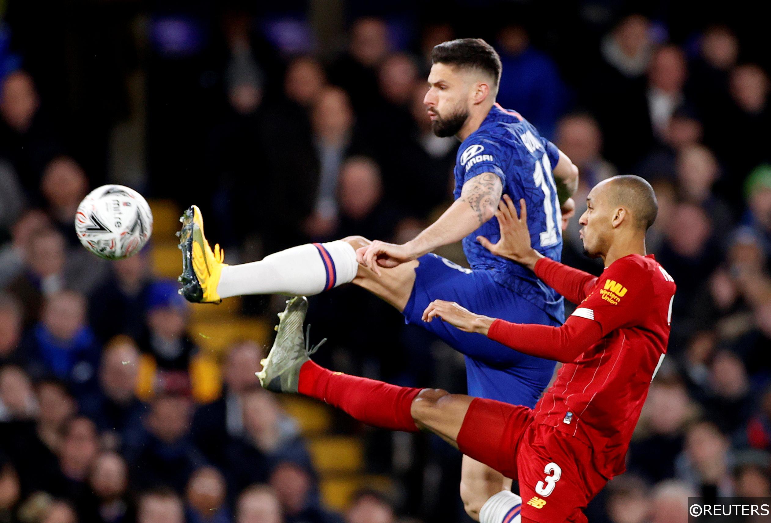 Olivier Giroud Chelsea and Fabinho Liverpool