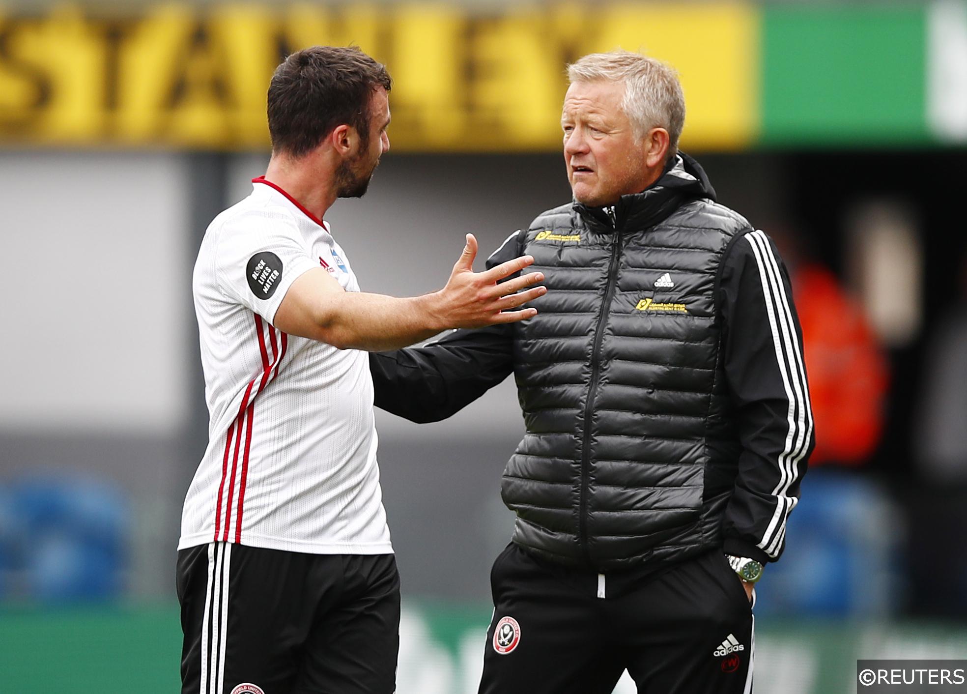Blades manager Chris Wilder with defender Enda Stevens