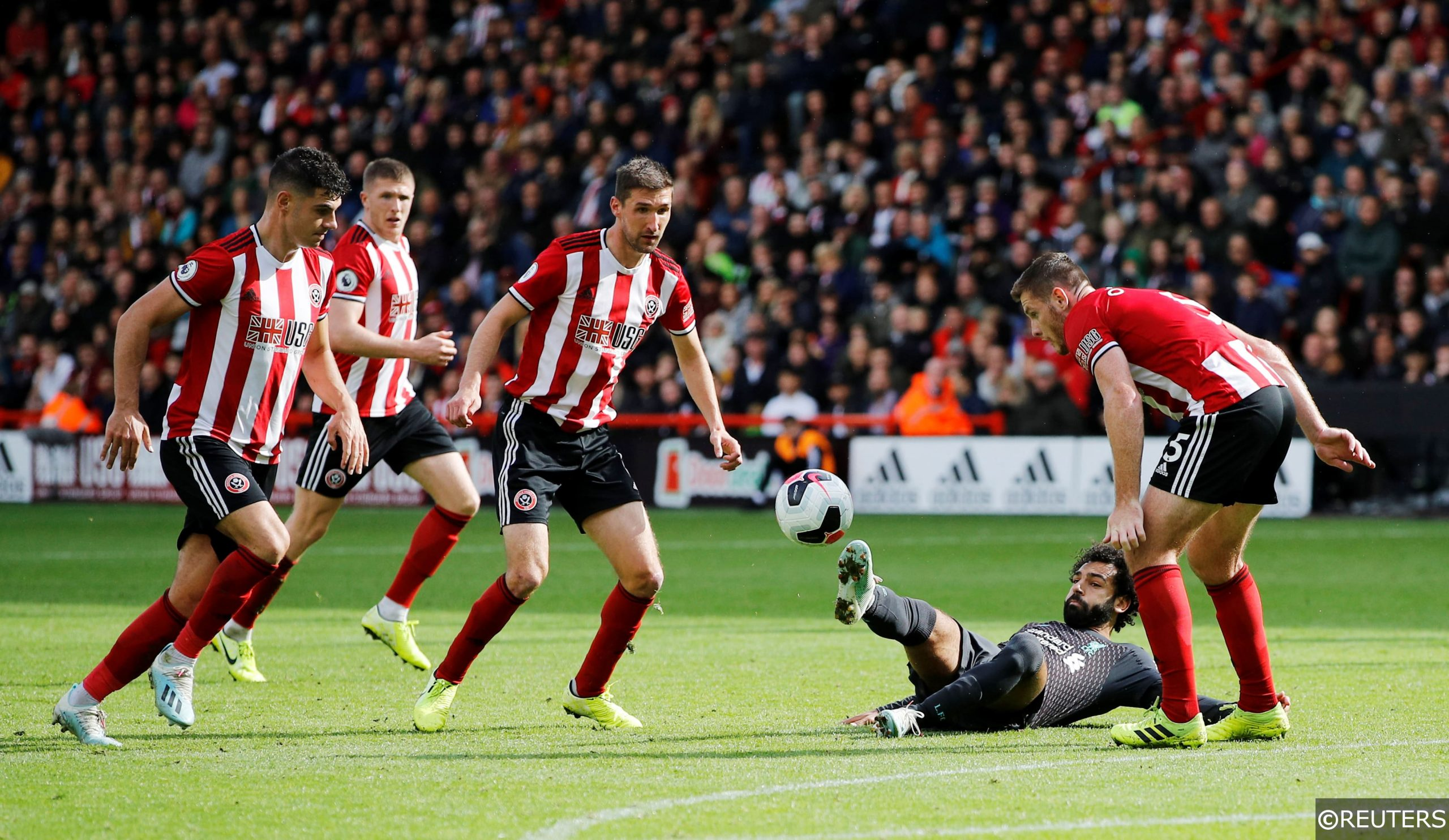 Sheffield United players against Liverpool
