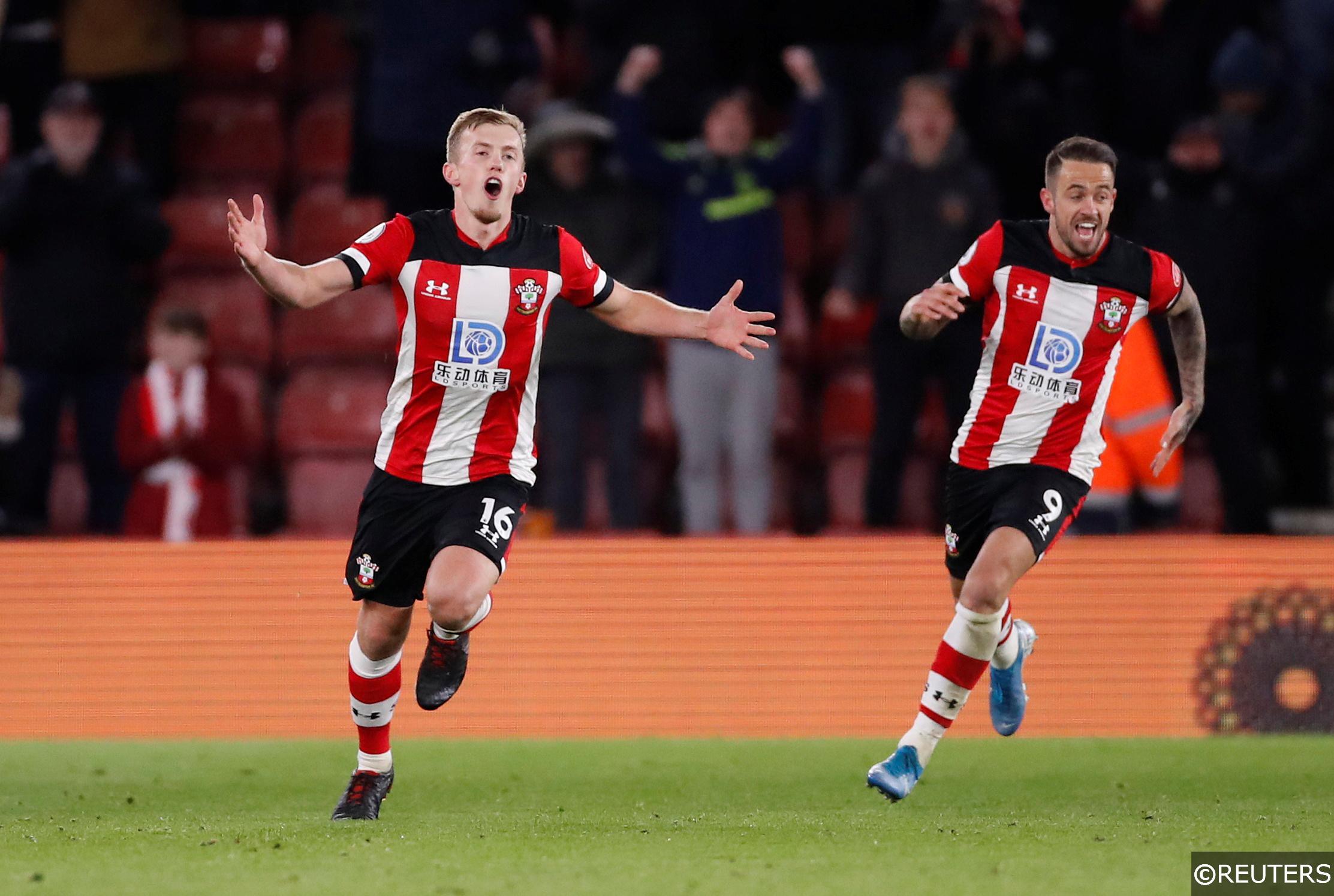 Southampton players celebrate after scoring a goal