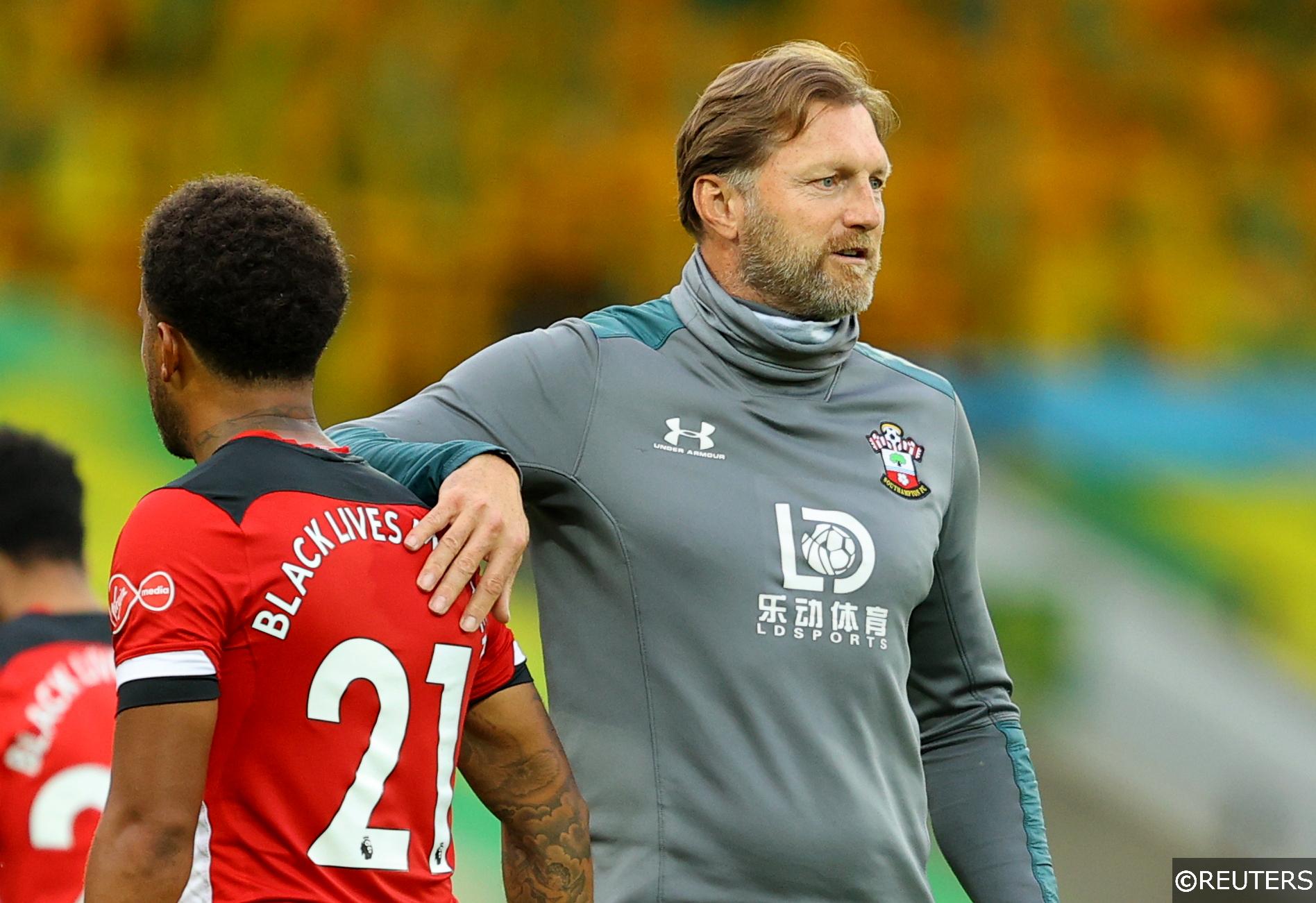 Southampton manager Ralph Hasenhuttl and defender Ryan Bertrand