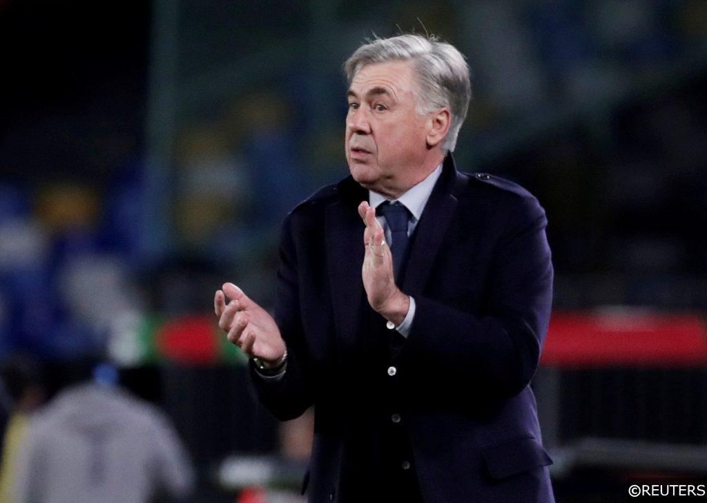 Everton's Carlo Ancelotti Napoli v Genk
