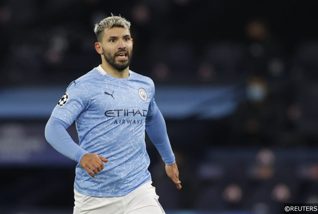 COMPLIANT - Sergio Aguero in action for Man City in the Champions League