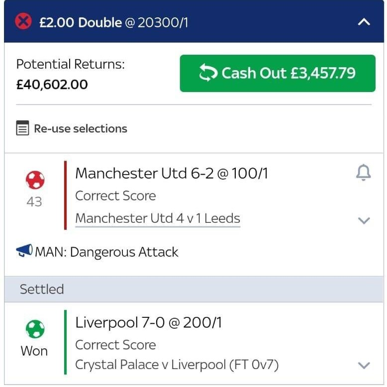 huge correct score double nearly lands