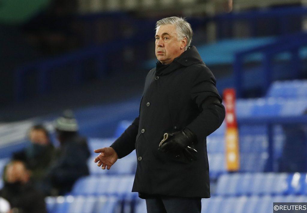 Everton Manager Carlo Ancelotti in the FA Cup 5th Round